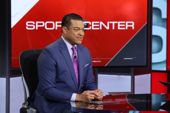 Michael Eaves at the SportsCenter desk