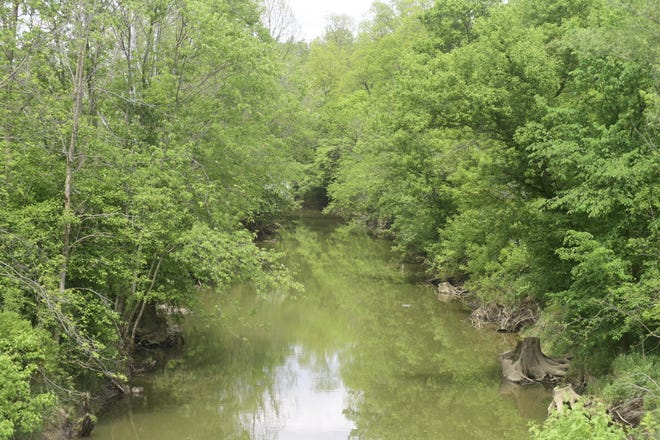 The Black Fork River flows eastward from Shelby through Ganges to Charles Mill Lake.