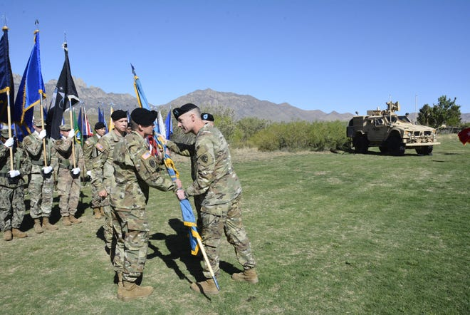 Grig. Gen. Eric Little, new commander of White Sands Missile Range, receives the Colors from ATEC Commanding General Maj. Gen. James Gallivan in a Change of Command ceremony Thursday, May 20, 2021.