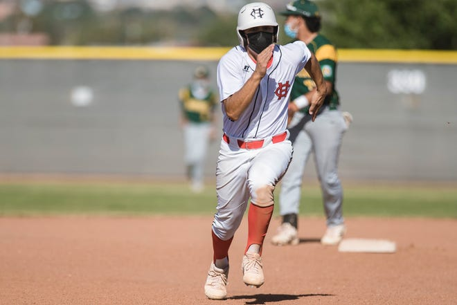 The Centennial Hawks face the Mayfield Trojans at the Field of Dreams baseball complex in Las Cruces on Thursday, May 20, 2021.