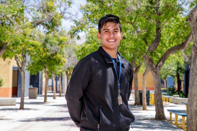 Omar Bahena, a Desert Hot Springs High School senior, won a prestigious $40,000 Edison Scholarship. He is photographed at the school in Desert Hot Springs, Calif., on May 20, 2021.