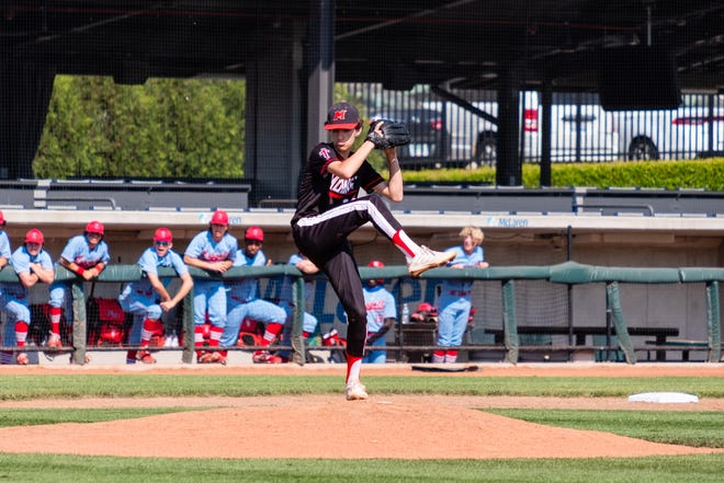 Cardinal Mooney's Blake Lutzky throws a pitch during the Catholic High School League Championship Thursday, May 20, 2021, at Jimmy John's Field in Utica.