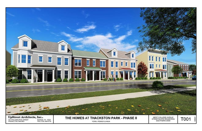 A digital rendering of the Thackston Park Phase II project, which would replace32 units in the area of West College Avenue and South Penn Street in York City with 50 new multi-bedroom units.