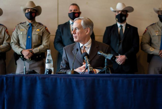 Gov. Greg Abbott holds a press conference in Dallas on March 17, 2021.