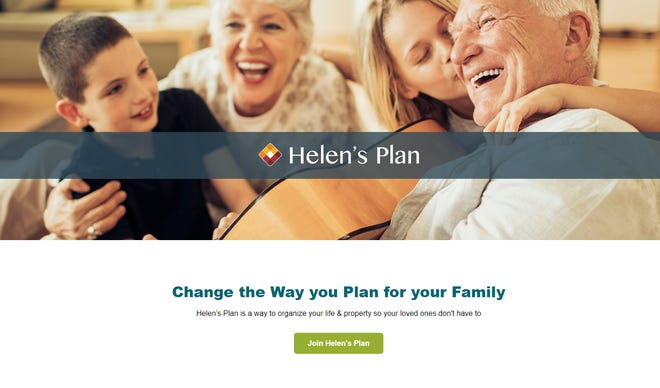Screenshot of Helen's Plan landing page.