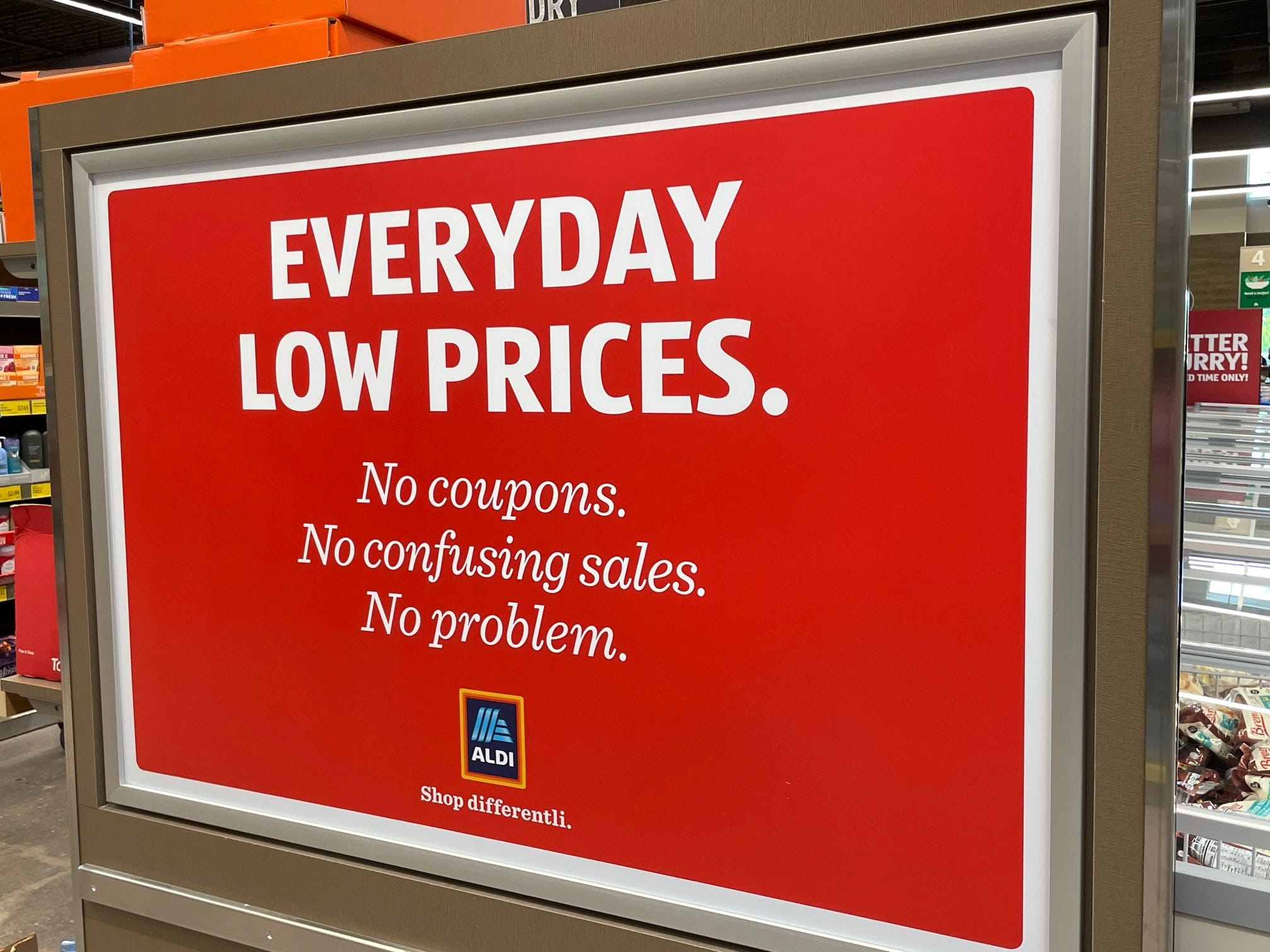 Aldi doesn't accept coupons.