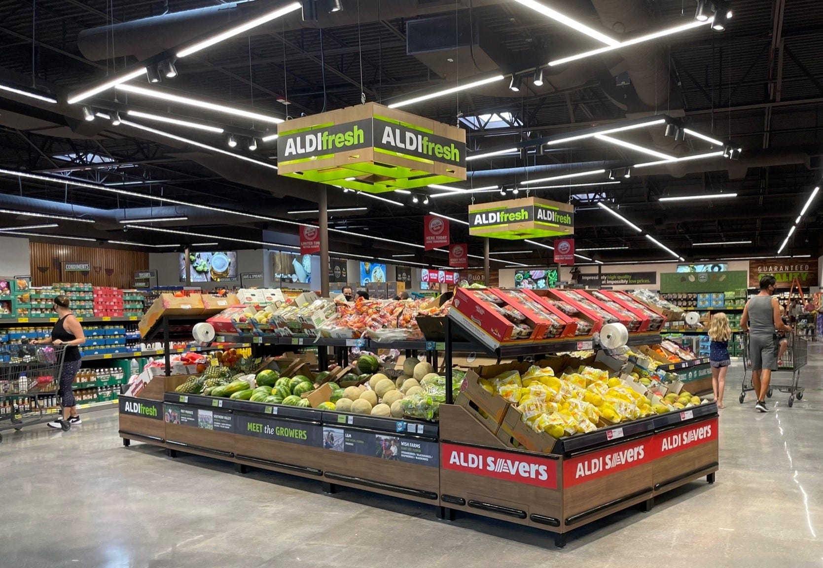 Aldi's produce is often priced lower than competitors.