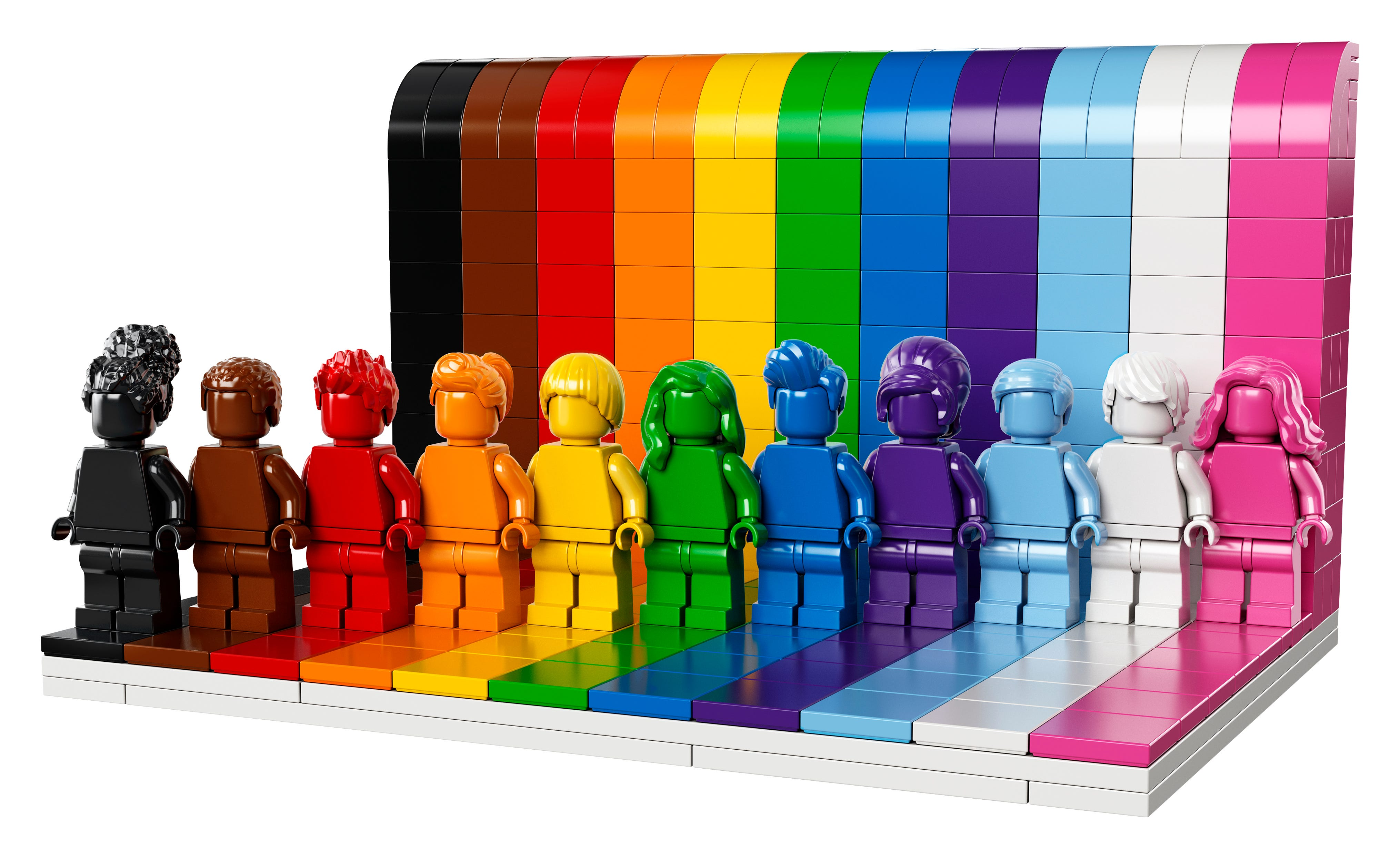 LEGO is launching its first-ever LGBTQ-themed set ahead of Pride Month. The set includes 11 monochrome figures each with its own hairstyle and rainbow color.