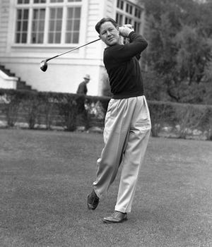 Byron Nelson in action at Los Angeles, Calif., on Jan. 7, 1942, ready for 17th annual Los Angeles $10,000 open. (AP Photo)