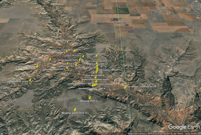This map shows locations where sensors have been placed in Palo Duro Canyon State Park for a West Texas A&M University study of extreme temperatures.