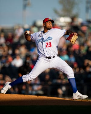 Amarillo Sod Poodles pitcher Humberto Mejia (29) pitches against the Midland RockHounds on Thursday at HODGETOWN Stadium. [John Moore/Amarillo Sod Poodles]