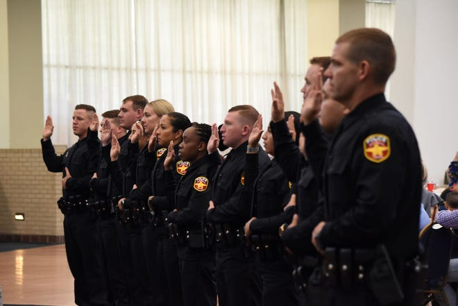 The Amarillo Police Academy's 96th graduating class swears in as new police officers Friday, May 21, 2021 at the Amarillo Civic Center Grand Plaza.