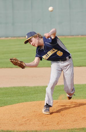 Hillsdale's Nick Kandel delivers a pitch against Central Christian Thursday at Ashland University's Donges Field.