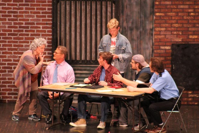 "ACTORS cast members perform ""The Full Monty"" at Stephens Auditorium."