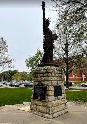 The Statue of Liberty featured on the West side was originally presented to the Butler County community by local troops of the Boy Scouts of America on June 14, 1950. The DAR is adding a marker to the statue this year.