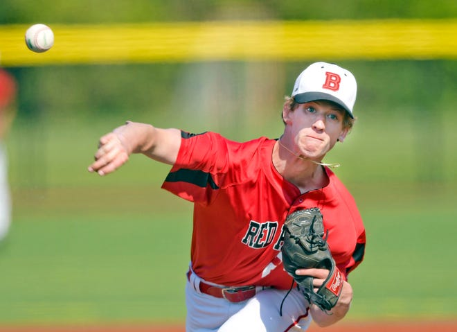 Barnstable pitcher Ryan Buckler delivers against Martha's Vineyard in Friday's 8-1 victory.