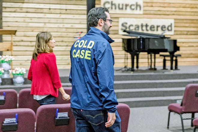 Allison Phillips, director of the Missouri Attorney General's Human Trafficking Task Force, and First Assistant Attorney General Cris Stevens prepare for an operation May 14 at Grace Bible Church in Columbia that would rescue 11 victims of human trafficking. The church served as the operation headquarters.