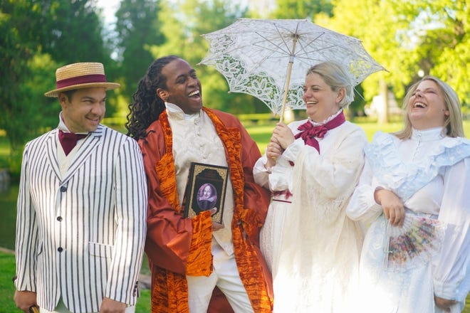"""From left: Drew Eberly, Duncan McKennie, Susan Wismar and Megan Lear in the Actors' Theatre of Columbus production of """"Much Ado About Nothing."""""""