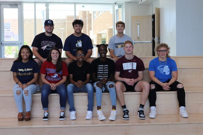 Asheboro held a signing ceremony for its student-athletes who are playing sports in college. Pictured are Katelynn McKinney, Annabeth Trotter, Tanaesha Ellison, Diamond McDowell, Logan Richardson, Nick Clark, Caleb Walker, Avery Jones, and Rhett Bolick. Not in picture: Jeffery Bell. [Contributed photo]