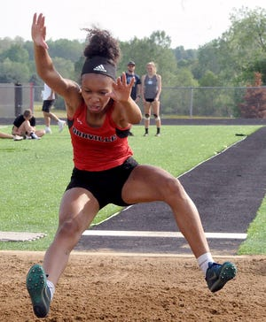 Orrville's Daysia Hargrave in the girls long jump. Hargrave finished second to Waynedale's Sara Ice, but finished first in the 100 hurdles and 300 hurdles.