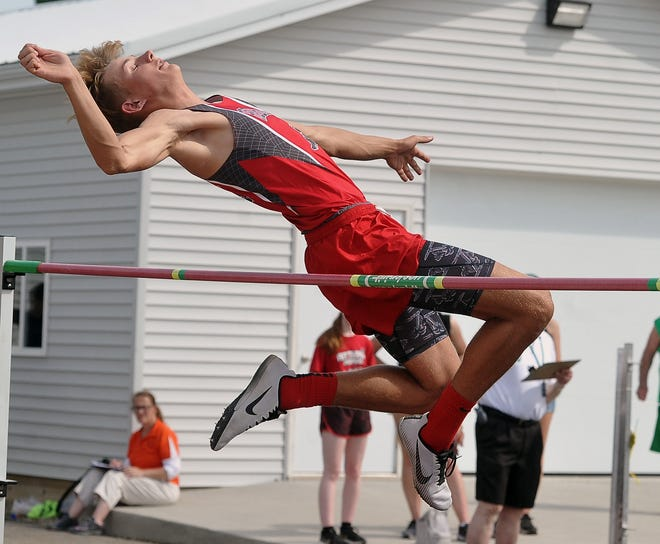 Loudonville's Kyle Maltarich competes in the high jump at the Division III Norwayne District on Friday.