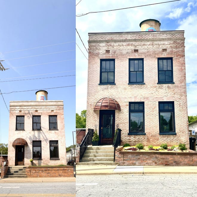 Before and after renovation photos show the exterior of BL Maker's Market in Thomasville that will have its grand opening on May 29. Owner Blythe Leonard is keeping the inside of the store, which features 100 small American Made businesses' products, top secret until the grand opening.