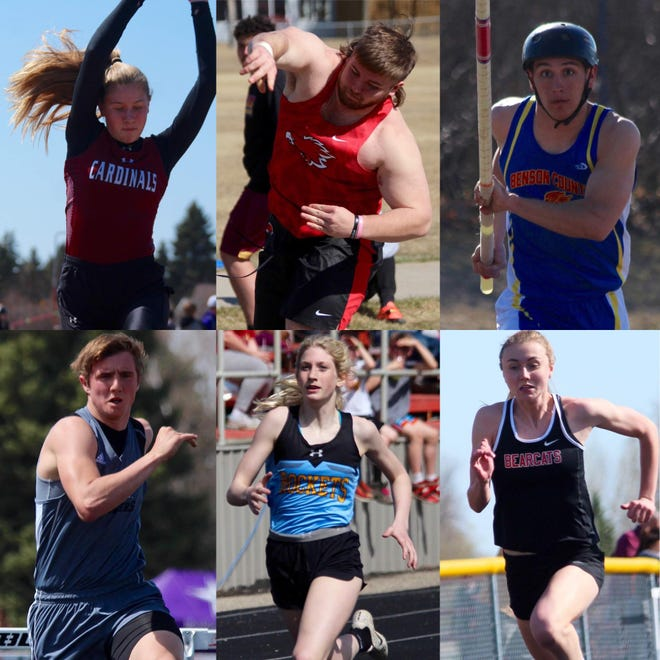 All six area teams will be participating in the 2021 NDHSAA State meet this upcoming weekend. Cora Badding, L/E/M (top left), James Tice, Devils Lake (top center), John Fischer, Benson County (top right), Garrett Syverson, Nelson County (bottom left), Kelsie Belquist, New Rockford-Sheyenne (bottom center), and Danielle Hagler, North Star (bottom right).