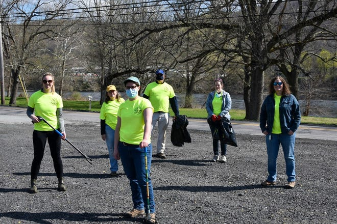 WESTFALL TWP. LITTER CREW - Participating in the Upper Delaware Litter Sweep for a clean-up in Westfall Township, PA  were, from the left, UDC Resources & Land Use Specialist Shannon Cilento, Janet Klimowich, UDC Secretary Ashley Hall-Bagdonas, Dawson Smith, Heather DePietro, and Sarah Hall-Bagdonas, along with their photographer, Jacob Lerner. / UDC photo