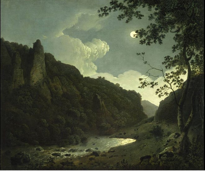 Dovedale by Moonlight, painted by Joseph Wright of Derby in 1784. Painting's location Allen Memorial Art Museum, Oberlin College, Ohio. / Public domain/Wikimedia Commons