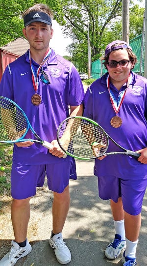 Wallenpaupack Area seniors Peter MacDonough and Jack Filip recently took third place at the District 2 Class AAA doubles tennis tournament. The Buckhorn duo won three matches to advance as far as the semi-final round, a feat not accomplished by the Paupack squad in well over a decade.