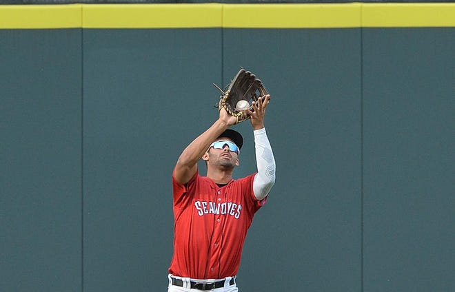 Erie SeaWolves outfielder Riley Greene makes a catch against the Binghamton Rumble Ponies at UPMC Park.