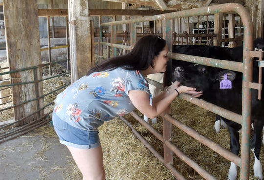 Lisa DeMuth nuzzles a cow at Sunset View Creamery on May 20, 2021.