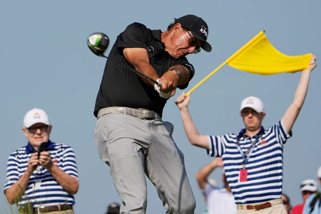 Phil Mickelson hits his tee shot on the 15th hole during the second round of the PGA Championship Friday at Kiawah Island, S.C. Mickelson, 50, shot 69, including a 31 on the front nine, to take the lead in the major.