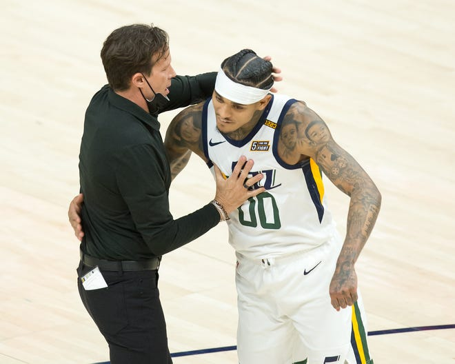 Utah Jazz guard Jordan Clarkson, right, hugs head coach Quin Snyder during a game against Indians this season. Clarkson, the former Missouri player, is averaging 18.4 points a game this season and is the favorite for the NBA's sixth man award under Snyder, a former Mizzou coach.