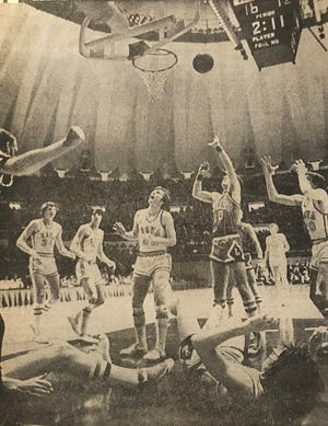 First-quarter action from ROVA's 77-70 victory over Lawrenceville in the 1975-76 Class A state semifinal. The Tigers never trailed in the game, despite a 48-point performance by future University of Kentucky player Jay Shidler.