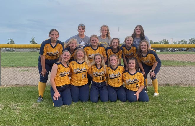 The Hillsdale Softball Coaches and players after the games on Thursday.