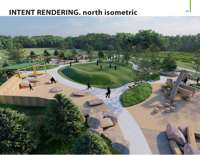 A rendering shows the central green of the WOW Nature Play Park planned for Window on the Waterfront.