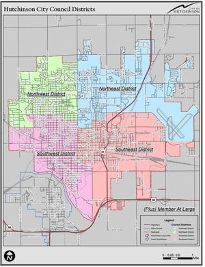 This map shows the boundaries of Hutchinson City Council Districts. Besides the four designated districts there is one At-large seat that is citywide.