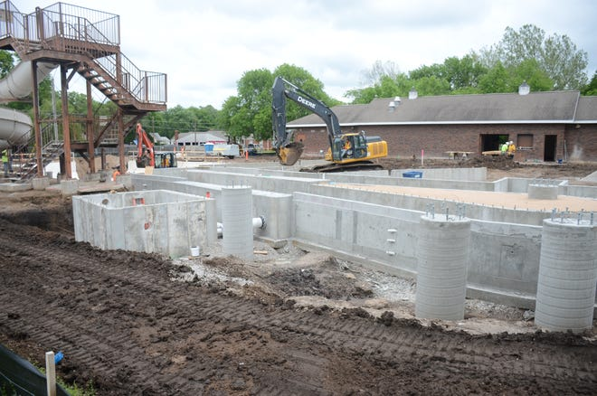 Construction crews have not allowed rain storms to slow the work on pool renovations at the Newton Municipal Pool. At this time, they expect to have construction complete July 31.