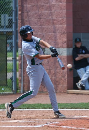 Nordonia's Jonathan Mitchner gets a hit during the Knights' 12-8 win at Aurora Thursday in a Division I sectional final.