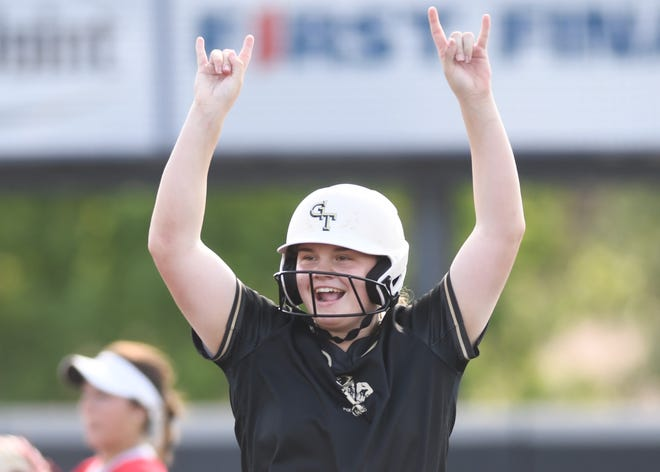 Lamesa pitcher Jadeyn Merrill celebrates after reaching second base on an error against Holliday in Game 1 of their Region I-3A semifinal series Friday, May 21, 2021, at Abilene Christian's Poly Wells Field in Abilene.