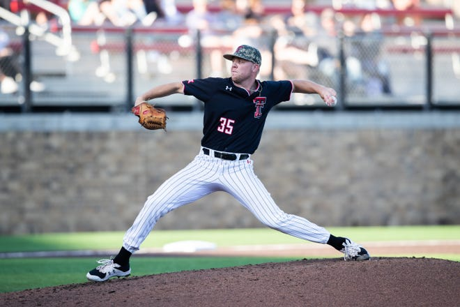 Texas Tech's Patrick Monteverde throws a pitch during a Big 12 Conference game Thursday, May 20, 2021, against Kansas at Dan Law Field at Rip Griffin Park.