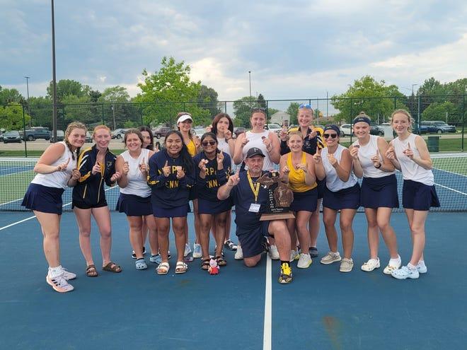 Airport's girls tennis team celebrates its first Regional championship.