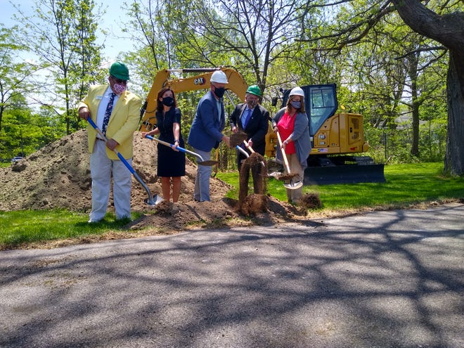 From left, Canandaigua Mayor Bob Palumbo; Lieutenant Governor Kathy Hochul; New York Commissioner of Parks, Recreation and Historic Preservation Erik Kulleseid; Sonnenberg Gardens Executive Director David Hutchings; and Sonnenberg Gardens Board Co-Chair Katherine O'Brien break ground on the new entrance to Sonnenberg Gardens & Mansion State Historic Park in Canandaigua on Friday. The new structure will offer more parking, permanent staff offices, a new visitor's center and more.