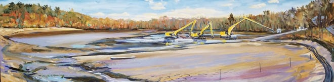 """The Needham Free Library will reopen on June 1 and present an exhibition of paintings by Mark J. Richards. """"Rosemary Pond Dredging"""" by by Mark J. Richards."""