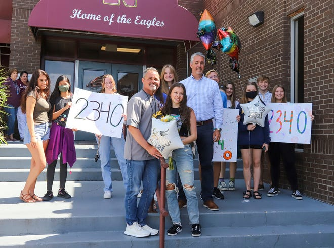 After 2,340 days of perfect school attendance, Niceville High School senior Laurel Wentworth was congratulated by friends, family and staff when she arrived for her final day of school.