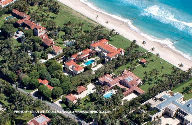 Among the top Palm Beach sales of the second quarter was a May sale recorded at $95 million for an oceanfront mansion at 1341 S. Ocean Blvd. (seen center, closest to ocean). Lawrence A. Moens Associates handled both sides of the off-market deal.