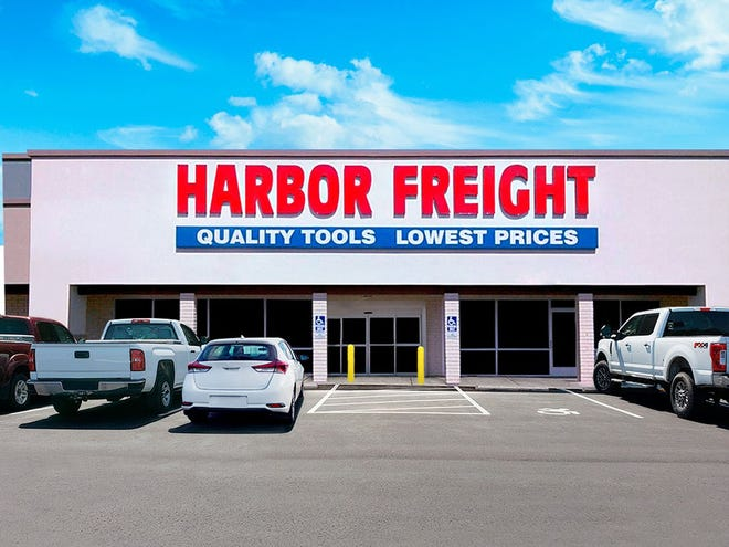 An example of a Harbor Freight Tools storefront is shown. The company aims to open a location at the Bay Mall shopping plaza in Petoskey by late summer or early fall.