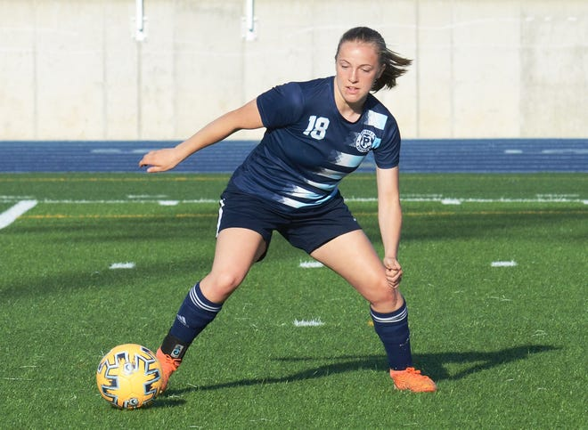 Petoskey's Hayley Flynn scored all three of the Northmen's goals against Gaylord, keeping them in the BNC race.