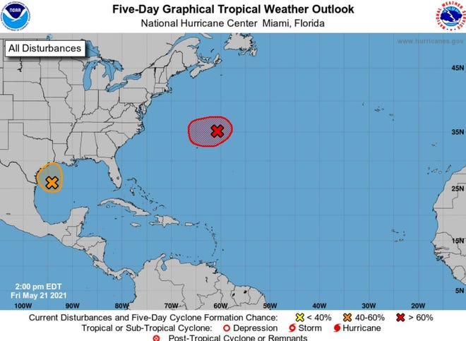 National Hurricane Center watching two areas for development.